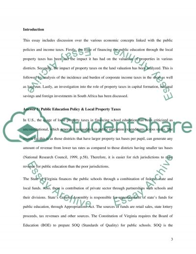 The various economic concepts linked with the public policies and income taxes Essay example