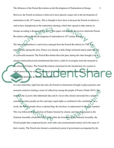 Example Essay Thesis How Did The French Revolution Influence The Development Of Nationalism In  Th Century Europe Business Essay Format also Best Essays In English How Did The French Revolution Influence The Development Of  Best Essay Topics For High School