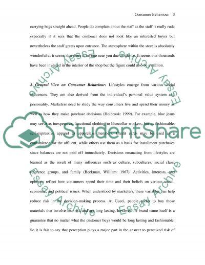 Consumer bahaviour essay example