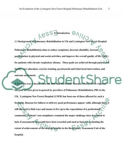 Evaluation on pulmonary rehab audit essay example