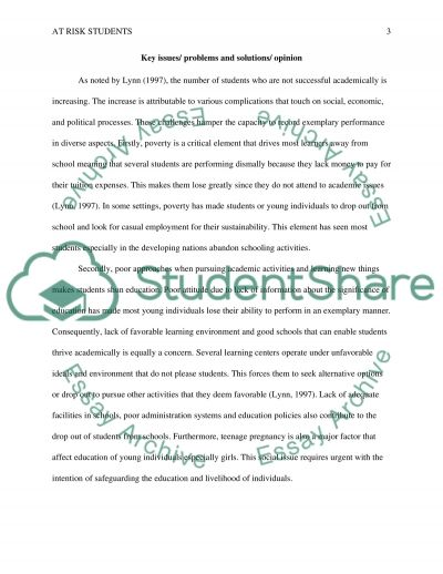 Critical Thinking Essay - At Risk Students essay example