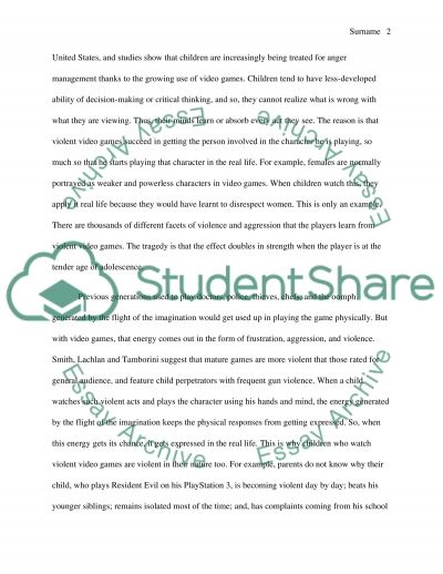 Should violent video games be banned or regulated essay example