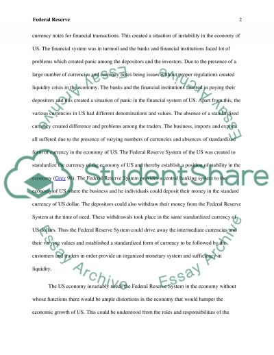 Federal Reserve Essay example