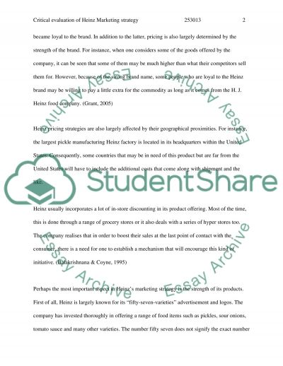 H.J.Heinz Marketing Strategy essay example