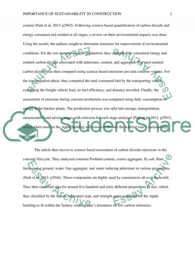 Importance of Sustainability in Construction Essay example