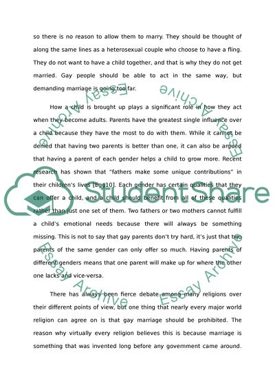 Gay marriage argument essays