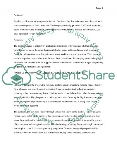 Consultancy Report for Portsmouth Leather Company essay example