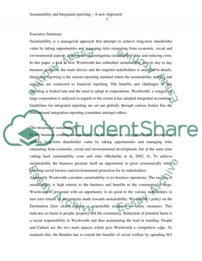 Sustainability and Integrated Reporting - A New Approach essay example