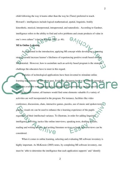 Multiple Intelligences and Online Learning Essay example
