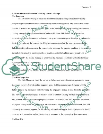 too big to fail essay
