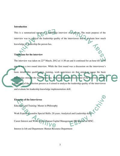 leadership interview paper essay