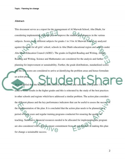 Change Plan at Marwah School essay example