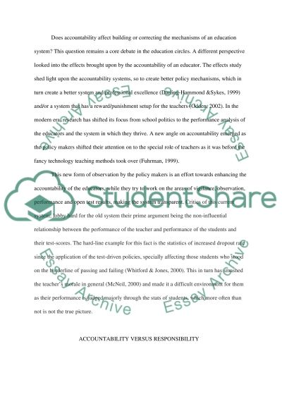 Is it Possible for a Teacher to be Accountable without Being Responsible? Essay example