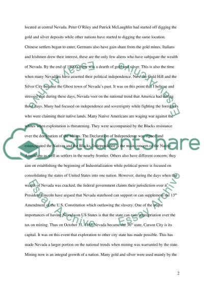 Nevada essay example