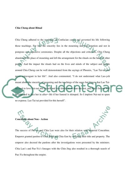 Dream of red chambers (chinese culyures and history ) essay example