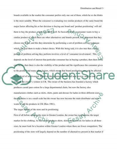 Distribution and Retail essay example