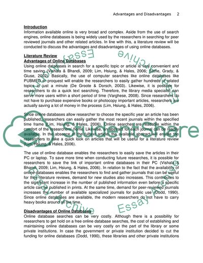 Advantages/disadvantages of online databases
