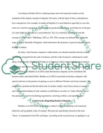 Business Etiquette Case Study - Words | Internet Public Library