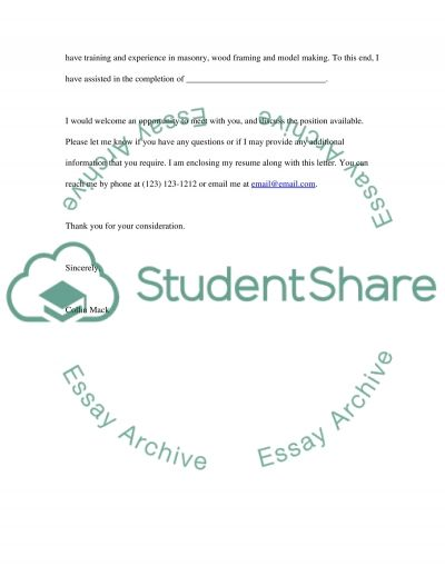 A Cover Letter and a Professional Letter essay example