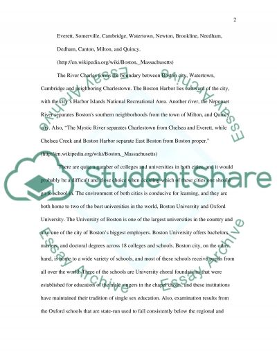 Boston and Oxford(contrast comparison essay) essay example