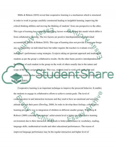 Cooperative Learning: Encouraging Pro-Social Behavior