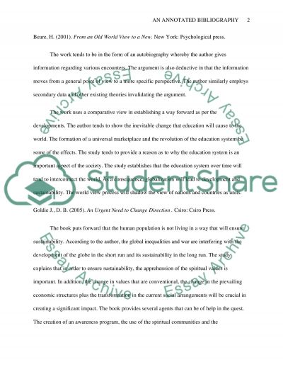 Globalization ,development and sustainability from education course Annotated Bibliography example