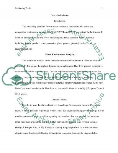 Marketing tools essay example