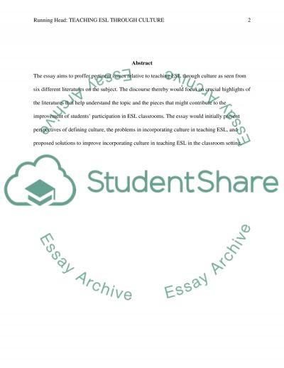 Teaching ESL through Culture essay example