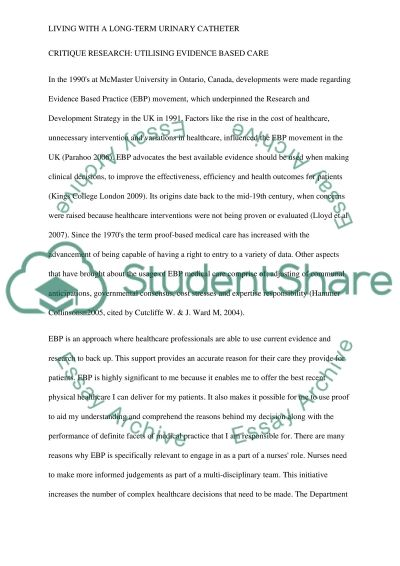 Living with a long-term urinary catheter Essay example