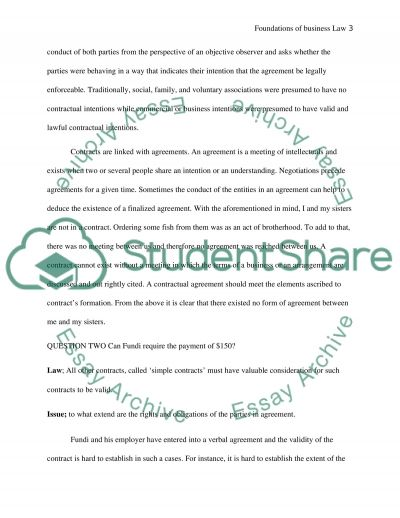 FOUNDATIONS OF BUSINESS LAW essay example