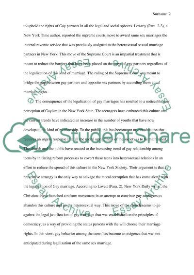 Gay marriage law essay