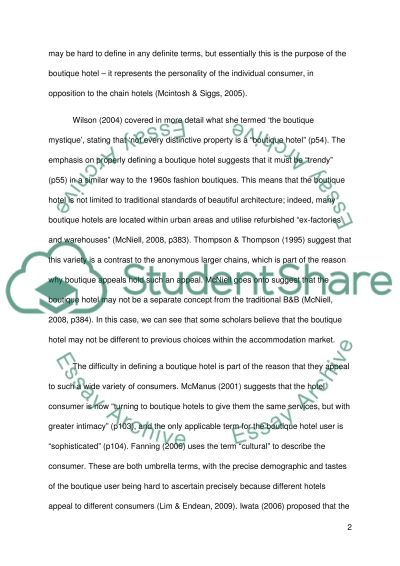 Boutique Hotels essay example