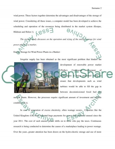 Operation and sizing of energy storage for wind power plants in a market essay example