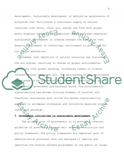 Marketing & Sustainability: please choose a clearly defined area related to Marketing and Sustainability essay example