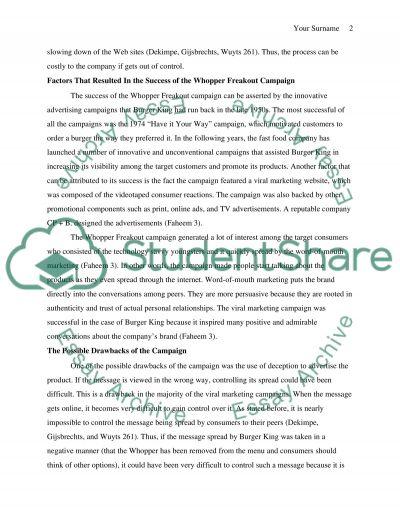 BURGER KING CASE STUDY essay example