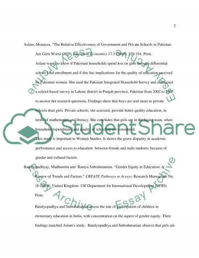 Public Education versus Private Education: An Annotated Bibliography essay example