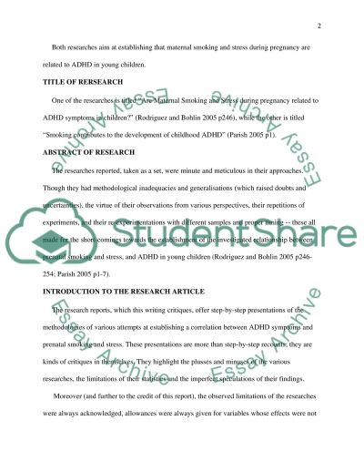 The relationship between prenatal stress and smoking,and ADHD in children Essay example