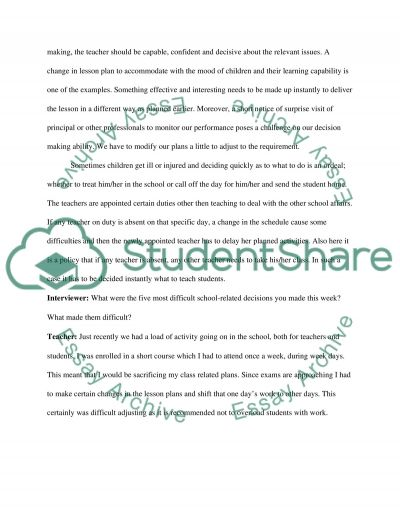 Interview with a Teaching Professional essay example