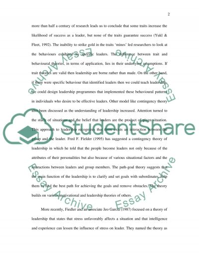 Self Leadership Essay Example – Leadership Essay Example