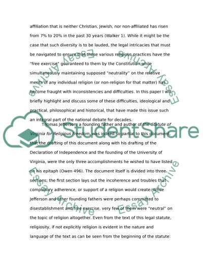 Separation of Church and State essay example