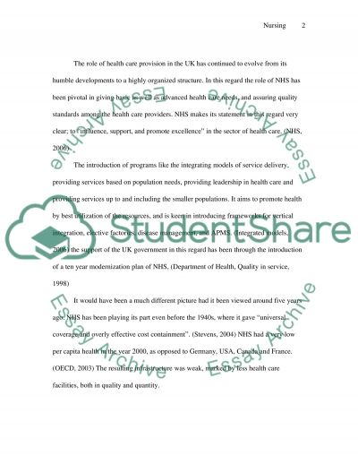Organisational Changes within NHS essay example