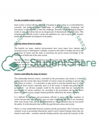 Science and its Impact on Society essay example