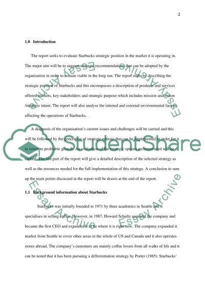 evaluation of starbucks strategic position in the market essay evaluation of starbucks strategic position in the market essay example