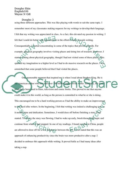 Writers Autobiography Assignment