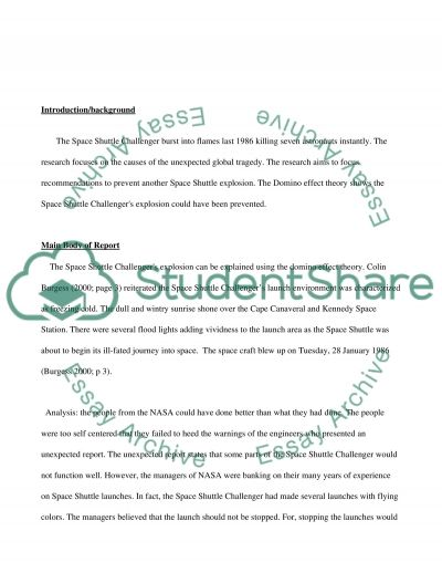 Space Shuttle Challenger Accident essay example