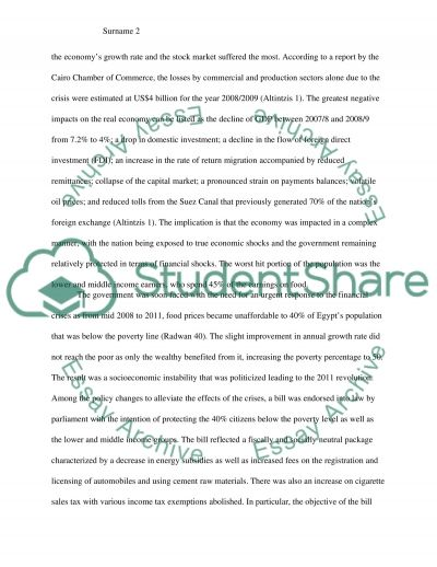 How the Global Finacial Crisis impacted Egypt essay example