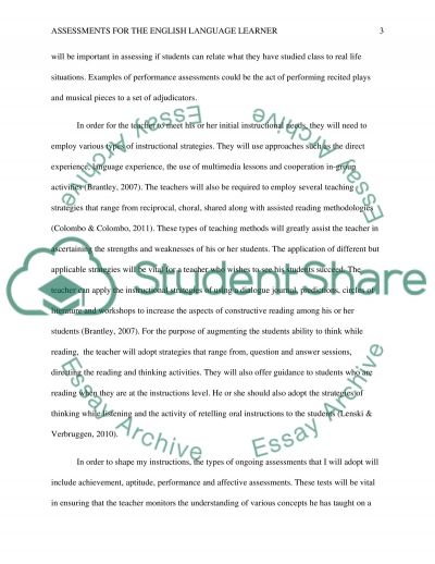 Assessments for the English Language Learner essay example