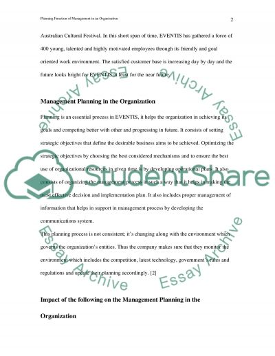 Planning Function of Management in an Organization essay example