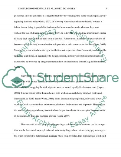Should Homosexuals Be Allowed to Marry essay example