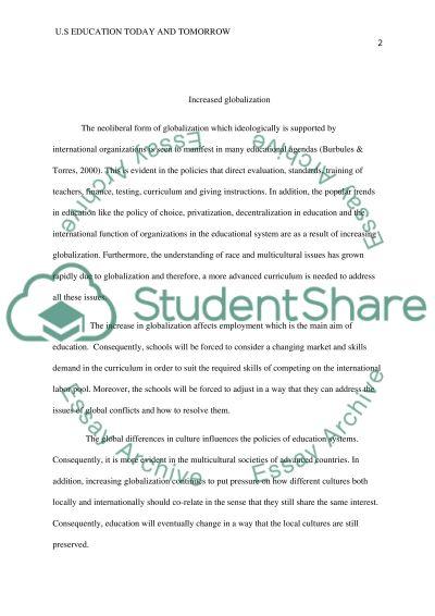 U. S. Education Today & Tomorrow essay example